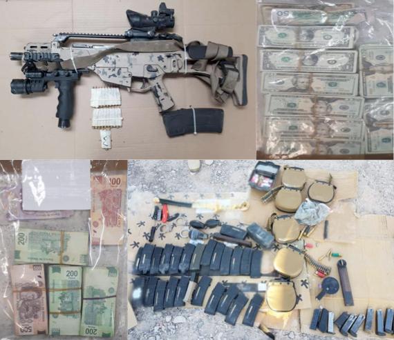 En tiroteo en Ojinaga aseguran; detenido, armas, municiones y dinero