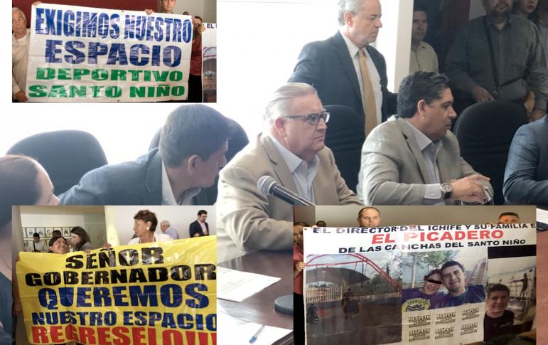 Se manifiestan vecinos de parque Santo Niño en Congreso