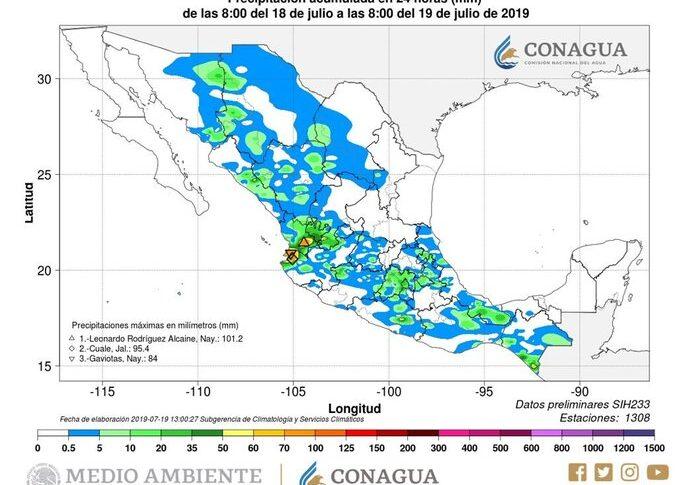 Pronóstico de lluvias con granizo para hoy viernes en Chihuahua