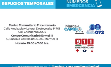 Habilita Gobierno Municipal refugios temporales por descenso en temperatura