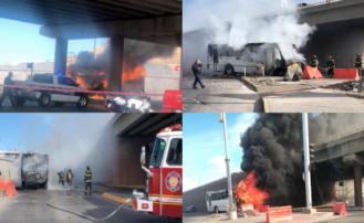 Camión urbano se incendia en el periférico de la Juventud y Cantera