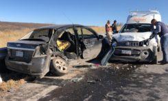 Aparatoso choque en la vía corta a Juárez deja dos lesionados y cuantiosos daños materiales