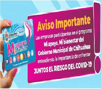 Se suman empresas de tarjeta Mi apoyo,mi bienestar a acciones preventivas del COVID-19